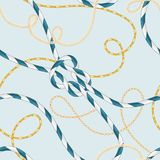 Nautical Style Seamless Pattern with Marine Rope Knots and Trendy Golden Chains. Fashion Fabric Design with Sea Elements stock illustration