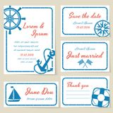 Nautical style wedding invitation and cards. Nautical themed wedding invitation and greeting cards with rope borders and copyspace for text and a ships wheel royalty free illustration
