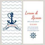 Nautical style wedding invitation Royalty Free Stock Photos