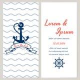 Nautical style wedding invitation royalty free illustration