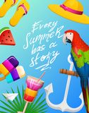 Nautical Summer cards. Marine vacation on the beach. Tropical plants and birds, camera and anchor, milkshake, deckchair. Toucan and parrot. Poster or Stock Photos