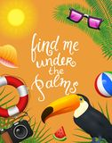 Nautical Summer cards. Marine vacation on the beach. Tropical plants and birds, camera and anchor, milkshake, deckchair. Toucan and parrot. Poster or Stock Photo