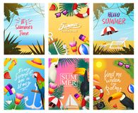 Nautical Summer cards. Marine vacation on the beach. Tropical plants and birds, camera and anchor, milkshake, deckchair. Toucan and parrot. Poster or Royalty Free Stock Images