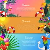 Nautical Summer cards. Marine vacation on the beach. Tropical plants and birds, camera and anchor, milkshake, deckchair. Toucan and parrot. Poster or Royalty Free Stock Image