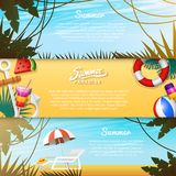 Nautical Summer cards. Marine vacation on the beach. Tropical plants and birds, camera and anchor, milkshake, deckchair. Toucan and parrot. Poster or Stock Image