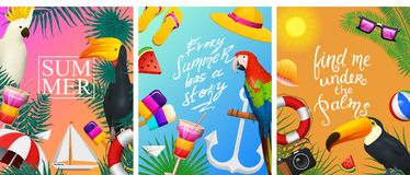 Nautical Summer cards. Marine vacation on the beach. Tropical plants and birds, camera and anchor, milkshake, deckchair. Toucan and parrot. Poster or Stock Photography