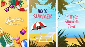 Nautical Summer cards. Marine vacation on the beach. Tropical plants and birds, camera and anchor, milkshake, deckchair. Toucan and parrot. Poster or Stock Images