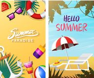 Nautical Summer cards. Marine vacation on the beach. Tropical plants and birds, camera and anchor, milkshake, deckchair. Toucan and parrot. Poster or Royalty Free Stock Photos
