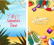 Nautical Summer cards. Marine vacation on the beach. Tropical plants and birds, camera and anchor, milkshake, deckchair. Toucan and parrot. Poster or royalty free illustration