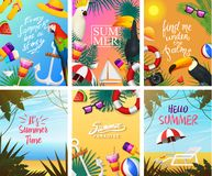 Nautical Summer cards. Marine vacation on the beach. Tropical plants and birds, camera and anchor, milkshake, deckchair. Toucan and parrot. Poster or Royalty Free Stock Photography