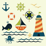 Nautical Summer Marine Vector Set Royalty Free Stock Image