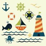 Nautical Summer Marine Vector Set Royalty Free Stock Image