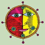 Nautical sun and moon symbol. Yellow and red naive engraving vector Stock Photos
