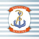 Nautical symbol with an anchor Stock Photography