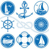 Nautical symbols and icons Royalty Free Stock Images