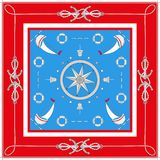 Nautical characters. Vector color square frame design. stock illustration