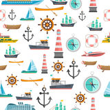 Nautical symbols vintage seamless pattern Royalty Free Stock Images