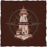Nautical t-shirt label design with illustration of old lighthouse. Stock Photo