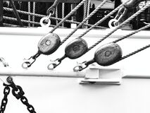 Free Nautical Tackles And Equipment Of The Old Tall Ship. Rigging Ropes And Rope Ladder On The Mast Of Sailing Vessel Stock Image - 197575301