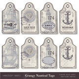 Nautical tags. Set of four different designs - with and without sample text Royalty Free Stock Photography