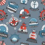Nautical templates marine sea logo badges anchor design emblems graphics vector seamless pattern background Stock Image