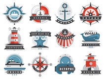 Nautical templates set marine labels sea badges anchor design emblems graphics vector illustration. Nautical logos templates set marine labels sea badges anchor Royalty Free Stock Photography