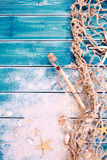 Nautical themed backdrop with message in a bottle Stock Photography