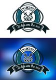 Nautical themed badge with life buoy Royalty Free Stock Photo
