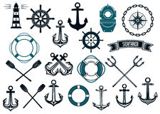 Nautical themed design elements Stock Photos