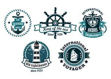 Nautical themed emblems or badges Royalty Free Stock Photo