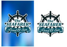 Nautical themed poster The Seafarer. With a vintage ships wheel with a looped chain and text in a ribbon banner below, one on white, one on blue Stock Photography