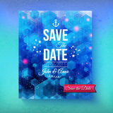 Nautical themed Save The Date template. With an artistic abstract blended blue background with a geometric pattern and ships anchor with white text and a Stock Photos