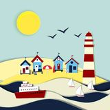 Nautical themed vector landscape Stock Photos