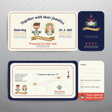 Nautical ticket hipster bride and groom wedding invitation and RSVP card. On wave background Stock Images