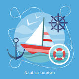 Nautical Tourism. Sailing Vessel in Blue Water. Sailing vessel in clear blue water. Nautical tourism. Icons of traveling, planning summer vacation, tourism. For Royalty Free Stock Photos