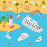 Nautical transport sea beach cruise flat 3d isometric vector Royalty Free Stock Photography