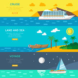 Nautical travel concept horizontal banners set Royalty Free Stock Photography