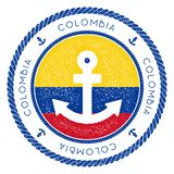 Nautical Travel Stamp with Colombia Flag and. Nautical Travel Stamp with Colombia Flag and Anchor. Marine rubber stamp, with round rope border and anchor symbol Royalty Free Stock Photos