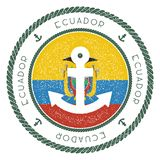 Nautical Travel Stamp with Ecuador Flag and. Nautical Travel Stamp with Ecuador Flag and Anchor. Marine rubber stamp, with round rope border and anchor symbol Royalty Free Stock Photography