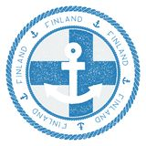 Nautical Travel Stamp with Finland Flag and. Nautical Travel Stamp with Finland Flag and Anchor. Marine rubber stamp, with round rope border and anchor symbol Stock Photography