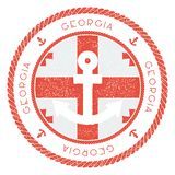 Nautical Travel Stamp with Georgia Flag and. Nautical Travel Stamp with Georgia Flag and Anchor. Marine rubber stamp, with round rope border and anchor symbol Stock Photo