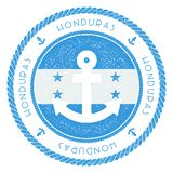 Nautical Travel Stamp with Honduras Flag and. Nautical Travel Stamp with Honduras Flag and Anchor. Marine rubber stamp, with round rope border and anchor symbol Royalty Free Stock Image