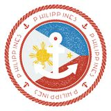 Nautical Travel Stamp with Philippines Flag and. Nautical Travel Stamp with Philippines Flag and Anchor. Marine rubber stamp, with round rope border and anchor Stock Photography