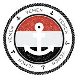 Nautical Travel Stamp with Yemen Flag and Anchor. Marine rubber stamp, with round rope border and anchor symbol on flag background. Vector illustration Stock Images