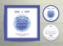 Nautical tying the knot water colour wedding invitation and RSVP card template set. On wood background Stock Photography