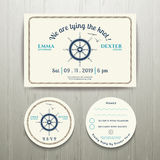 Nautical we are tying the knot wedding invitation and RSVP card. Template set on wood background Stock Photo