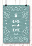 Nautical typography poster Home, sweet home Marine lettering Royalty Free Stock Image