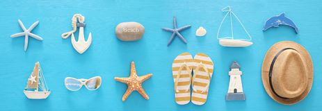 Nautical, vacation and travel banner with sea life style objects. Top view. Nautical, vacation and travel banner with sea life style objects. Top view Royalty Free Stock Photos