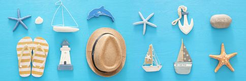 Nautical, vacation and travel banner with sea life style objects. Top view. Nautical, vacation and travel banner with sea life style objects. Top view Stock Photo