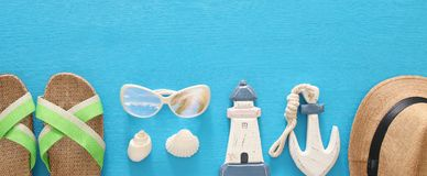 Nautical, vacation and travel banner with sea life style objects. Top view. Nautical, vacation and travel banner with sea life style objects. Top view Stock Images